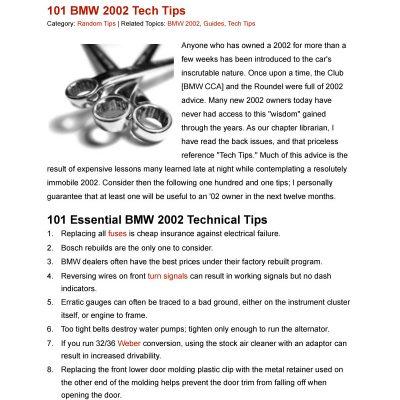 BMW 2002 - 101 Tech Tips