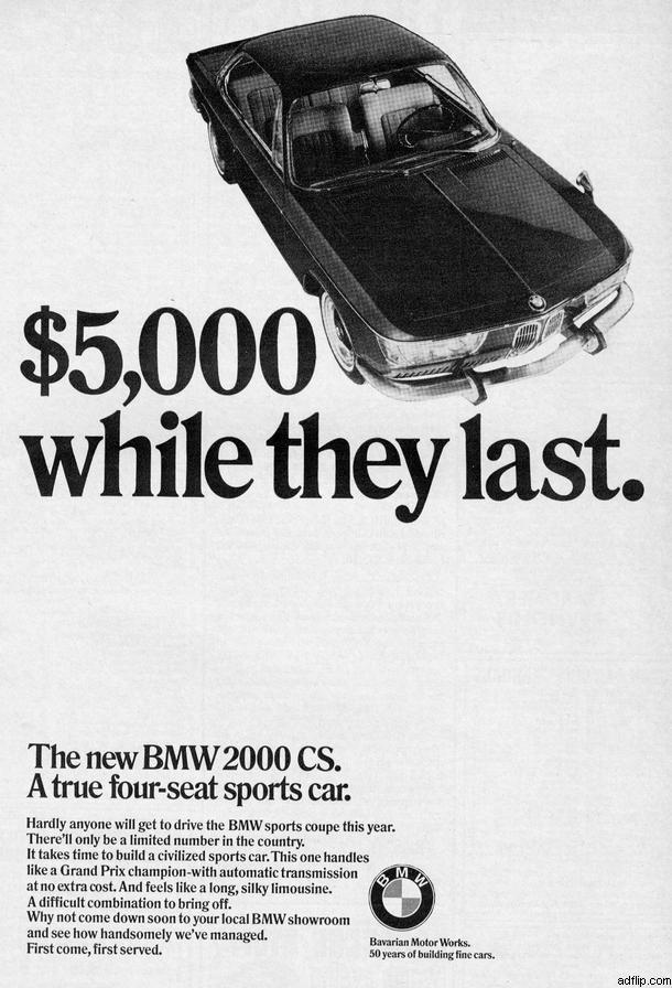 BMW 2000 CS Print Ad