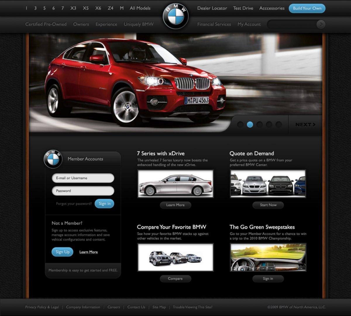 Ryan Scherf proposed redesign for BMW website